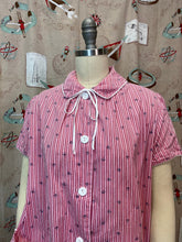 Load image into Gallery viewer, Vintage 1950s 1960s Blouse • Maternity Shirt Pink & Red Mushroom Print with a Pocket • Small