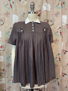Vintage 1950s Blouse • Maternity Brown Swing Blouse with Rhinestone Buttons • Small to Medium
