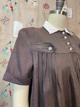 Load image into Gallery viewer, Vintage 1950s Blouse • Maternity Brown Swing Blouse with Rhinestone Buttons • Small to Medium