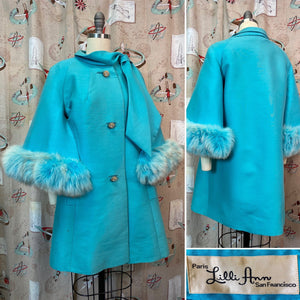 RESERVED • Vintage 1960s Coat • Lilli Ann Designer Turquoise Fox Fur Cape Sleeve Coat • Medium to Large