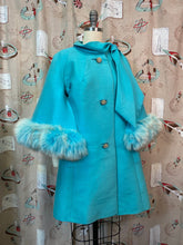 Load image into Gallery viewer, Vintage 1960s Coat • Lilli Ann Designer Turquoise Fox Fur Cape Sleeve Coat • Medium to Large