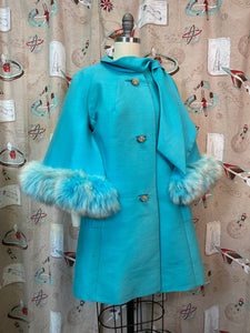 Vintage 1960s Coat • Lilli Ann Designer Turquoise Fox Fur Cape Sleeve Coat • Medium to Large
