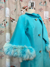 Load image into Gallery viewer, RESERVED • Vintage 1960s Coat • Lilli Ann Designer Turquoise Fox Fur Cape Sleeve Coat • Medium to Large
