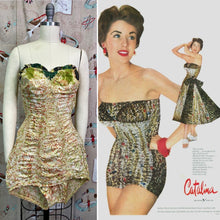 Load image into Gallery viewer, Vintage 1950s Swimsuit • Catalina Strapless One Piece Nylon Bombshell Bathing Suit • Medium to Large