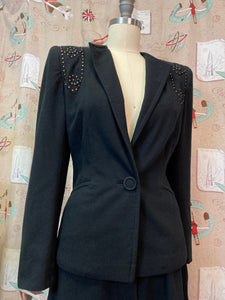Vintage 1940s Suit • Black Studded Ladies Art Deco Suit • Small