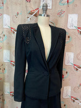 Load image into Gallery viewer, Vintage 1940s Suit • Black Studded Ladies Art Deco Suit • Small