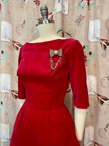Vintage 1950s 1960s Dress • Red Velvet V-Cut Back Holiday Cocktail Dress • Small