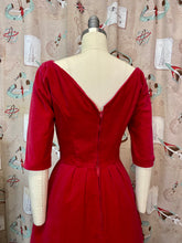 Load image into Gallery viewer, Vintage 1950s 1960s Dress • Red Velvet V-Cut Back Holiday Cocktail Dress • Small