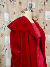 Load image into Gallery viewer, Vintage 1950s 1960s Coat • Red Velvet Luxurious Shoulder Swing Coat • Small to Medium