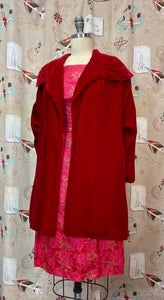 Vintage 1950s 1960s Coat • Red Velvet Luxurious Shoulder Swing Coat • Small to Medium