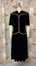 Load image into Gallery viewer, Vintage 1930s Dress • Black Silk Velvet with Gold Leaf Beading • Medium