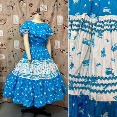 Vintage 1950s Matching Set • Western Cowgirl Blouse & Circle Skirt Patio Set with Pioneer Novelty Print • Small