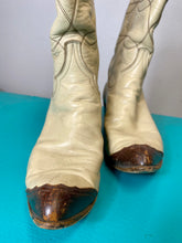 Load image into Gallery viewer, Vintage Ladies Boots • Ben Miller Beige & Brown Cowgirl Boots • Size US 7