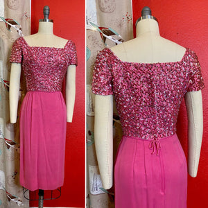 Vintage 1950s Dress • Pink Sequin Soutache Party Dress • Extra Small