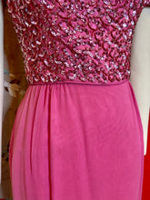 Load image into Gallery viewer, Vintage 1950s Dress • Pink Sequin Soutache Party Dress • Extra Small