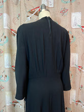 Load image into Gallery viewer, Vintage 1940s Dress • Black Crepe Beaded Peplum Waist Dress • 3XL