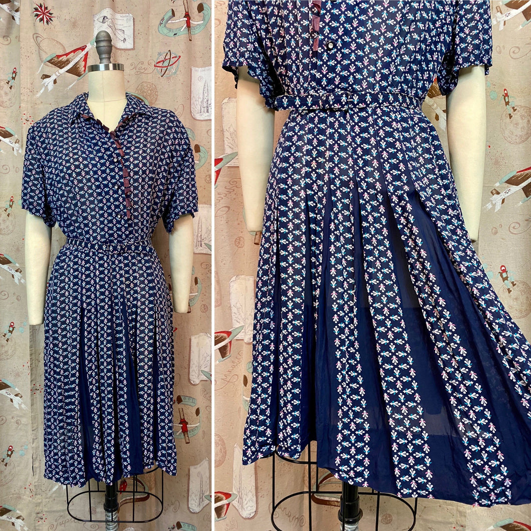 Vintage 1940s Dress • Blue Floral Rayon Day Dress With Belt • 2XL