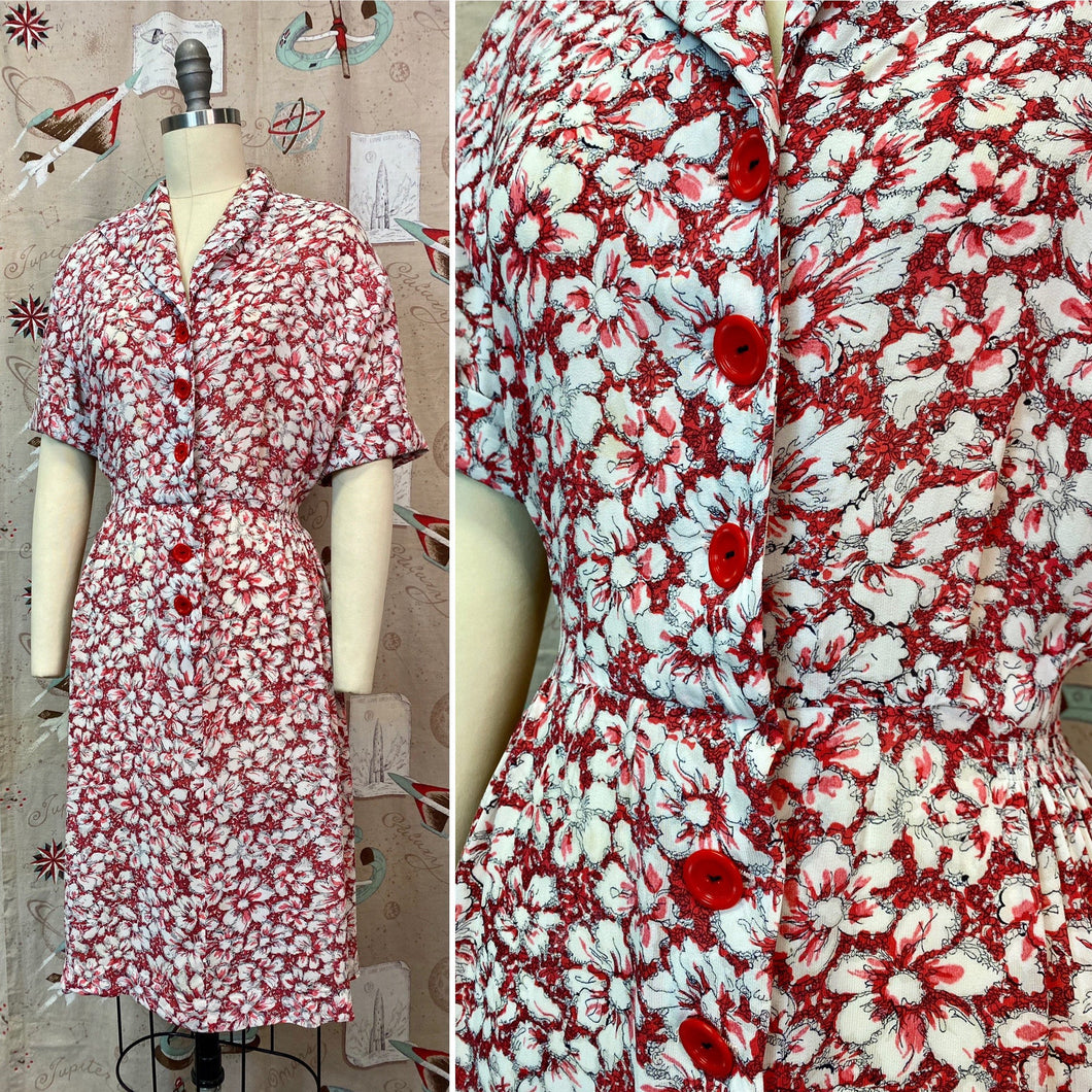 Vintage 1940s Dress • Red Floral Rayon Day Dress • XL 2XL