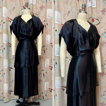 Load image into Gallery viewer, Vintage 1940s Dress • Black Liquid Satin Silk Waist Draped Film Noir Gown • Large