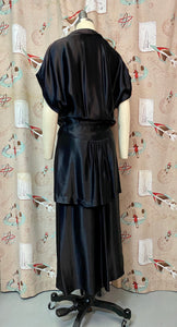Vintage 1940s Dress • Black Liquid Satin Silk Waist Draped Film Noir Gown • Large