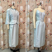 Load image into Gallery viewer, Vintage 1950s Matching Set • Icy Blue Wiggle Dress with Pearl Embellished Blazer • Extra Small