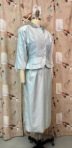 Vintage 1950s Matching Set • Icy Blue Wiggle Dress with Pearl Embellished Blazer • Extra Small