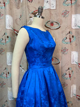 Load image into Gallery viewer, Vintage 1950s Dress • Blue Brocade Bow Back Cocktail Dress • XS Small