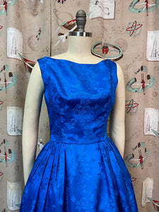 Vintage 1950s Dress • Blue Brocade Bow Back Cocktail Dress • XS Small