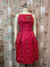 Load image into Gallery viewer, Vintage 50s 60s Dress • Gold Lurex on Red Rose Brocade Cocktail Dress • XS