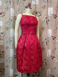Vintage 50s 60s Dress • Gold Lurex on Red Rose Brocade Cocktail Dress • XS