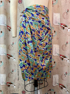 Vintage 1940s Skirt • Silk Novelty Print Asymmetrical Pencil Skirt • XS