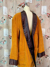 Load image into Gallery viewer, Vintage 1950s Robe • Brown Corduroy Satin Trimmed Gentlemen's Smoking Jacket • Medium