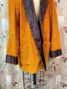 Vintage 1950s Robe • Brown Corduroy Satin Trimmed Gentlemen's Smoking Jacket • Medium