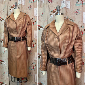 Vintage 1950s Suit • Light Brown Striped Summer Suit with Oversized Belt • Small