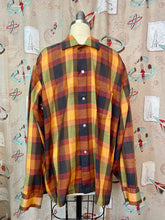 Load image into Gallery viewer, Vintage 1950s Shirt • Rare Orange Brown Green Plaid Button Up • Large