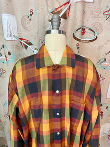 Vintage 1950s Shirt • Rare Orange Brown Green Plaid Button Up • Large