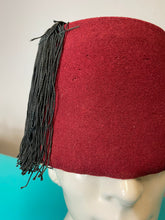 Load image into Gallery viewer, Vintage Hat • Burgundy Fez With Black Tassel • Medium