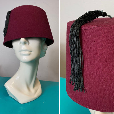 Vintage Hat • Vintage Burgundy Red Blank Fez • Large