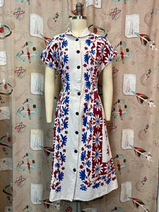 Vintage 1940s Dress • Floral Tablecloth Linen Cotton Day Dress • Large