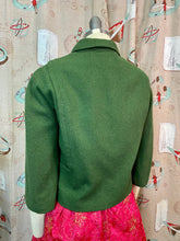 Load image into Gallery viewer, Vintage 1960s Jacket • Green Wool Cropped Ladies Jacket with Large Buttons • Small