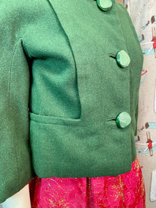 Vintage 1960s Jacket • Green Wool Cropped Ladies Jacket with Large Buttons • Small