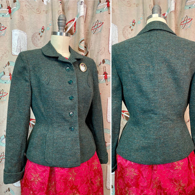 Vintage 1950s Jacket • Green Flecked Wool Nipped Waist Blazer • Small