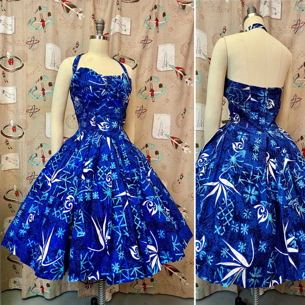 Vintage 1950s Dress • Alfred Shaheen Blue Birds of Paradise Print Strapless & Halter Dress • Large to Extra Large