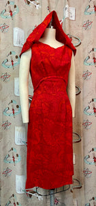 Vintage 1960s Dress • Red Butterfly Print Barkcloth Shift Dress with Draping • Small