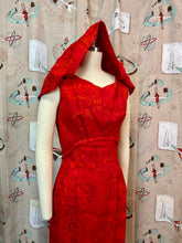 Load image into Gallery viewer, Vintage 1960s Dress • Red Butterfly Print Barkcloth Shift Dress with Draping • Small