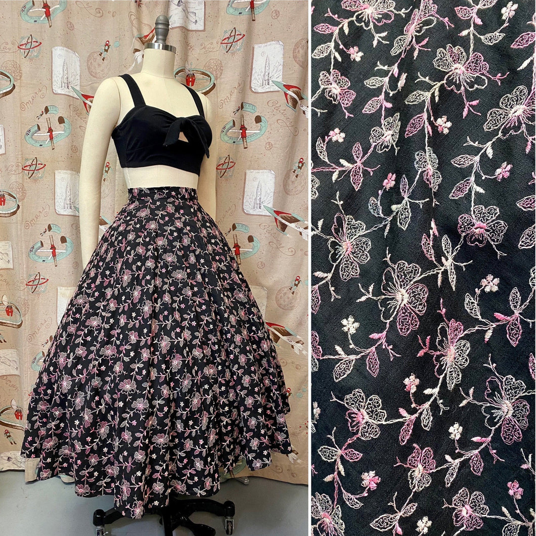 Vintage 1950s Skirt • Black Circle Skirt with Pink Floral Embroidery • Large