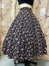 Load image into Gallery viewer, Vintage 1950s Skirt • Black Circle Skirt with Pink Floral Embroidery • Large