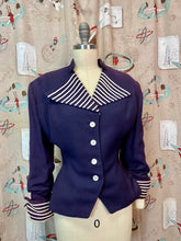 Load image into Gallery viewer, Vintage 1940s Blazer • Navy Blue Striped Wide Lapel Ladies Suit Jacket • Large