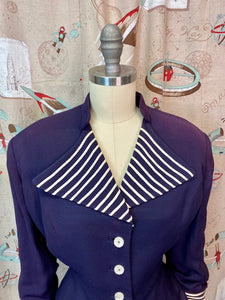 Vintage 1940s Blazer • Navy Blue Striped Wide Lapel Ladies Suit Jacket • Large