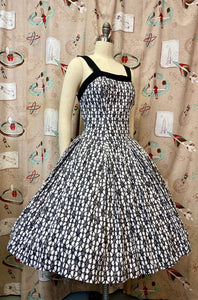 Vintage 1950s Dress • Black & White Rhinestone Dress •